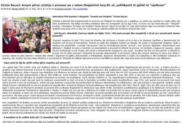 Interviste G.Boçari, Gazeta Telegraf 17.05.2013