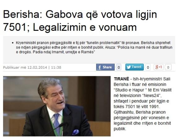 Berisha pranon përgjegjesi mbi pronat, intervistë Shekulli, 12 shkurt 2014